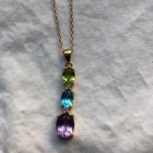 18K Gold Over Silver Multi Gemstones Tier Pendant